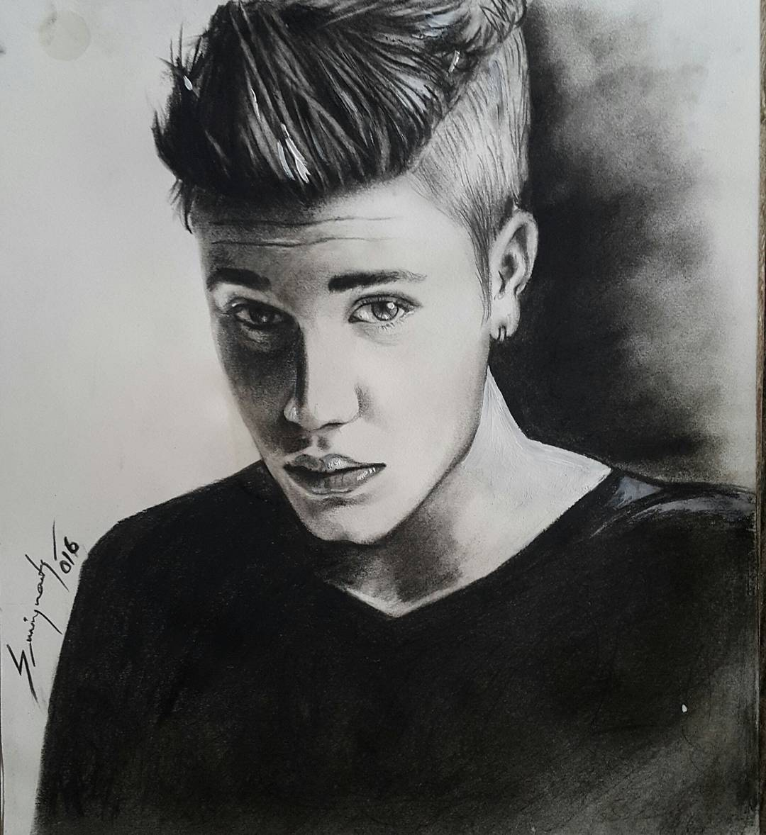 Justin Bieber Portrait Drawing, Tattoo Artist in Nepal