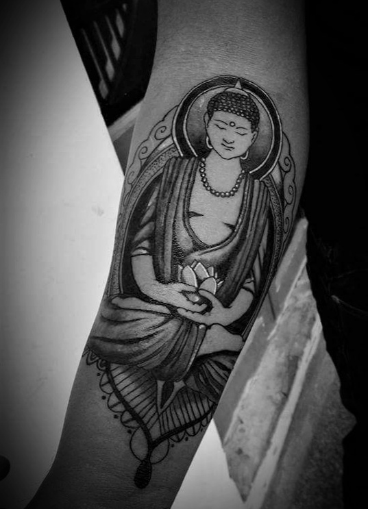 Buddha Sleeve Tattoo in Nepal