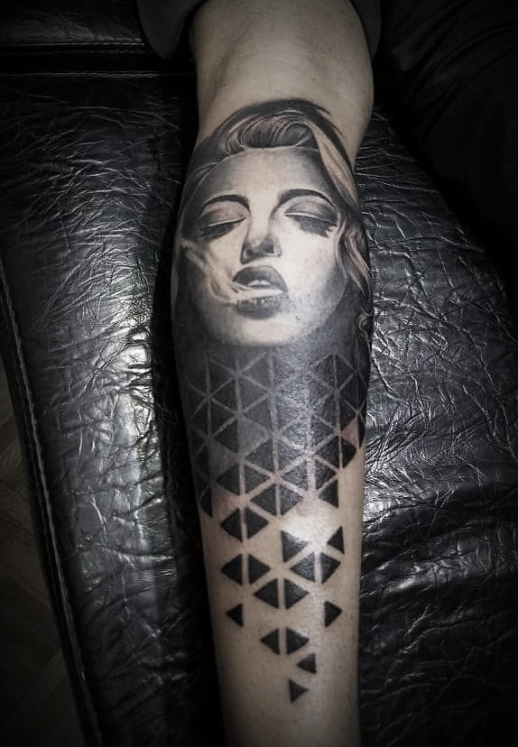 Smoking Lady Sleeve Tattoo, Tattoo Artist in Nepal