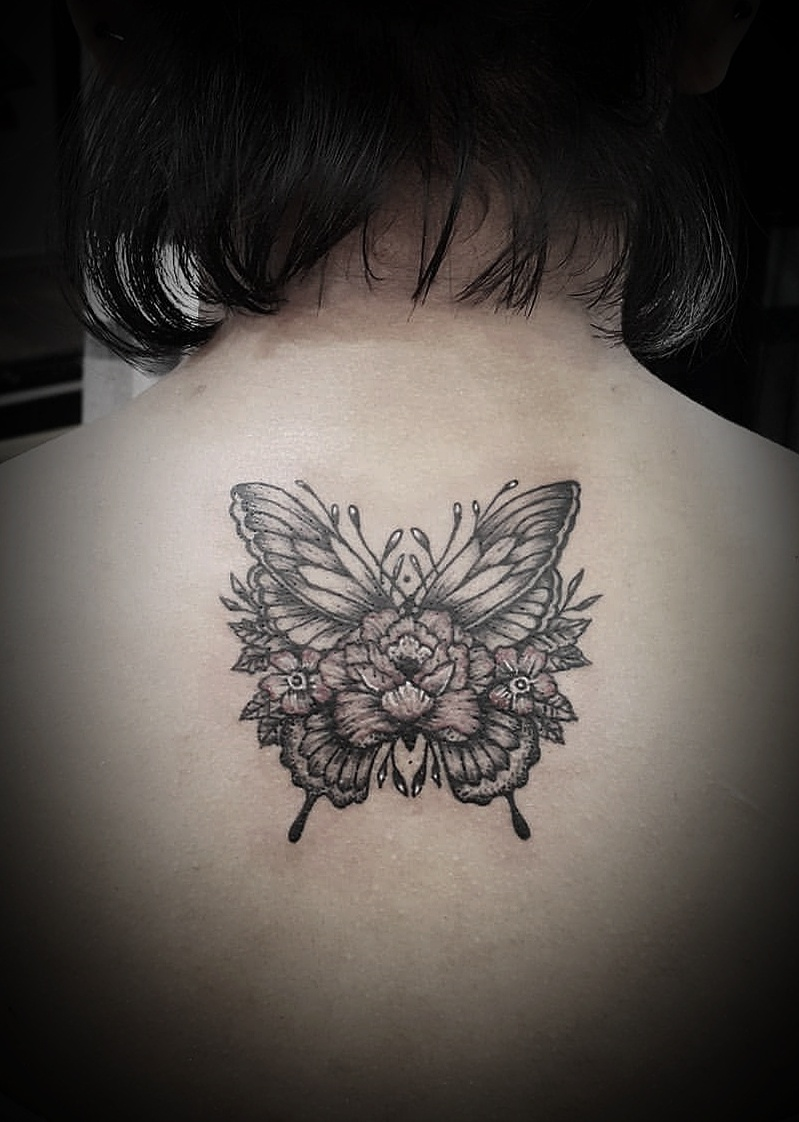Butterfly and Flower Tattoo, Tattoo Artist in Nepal