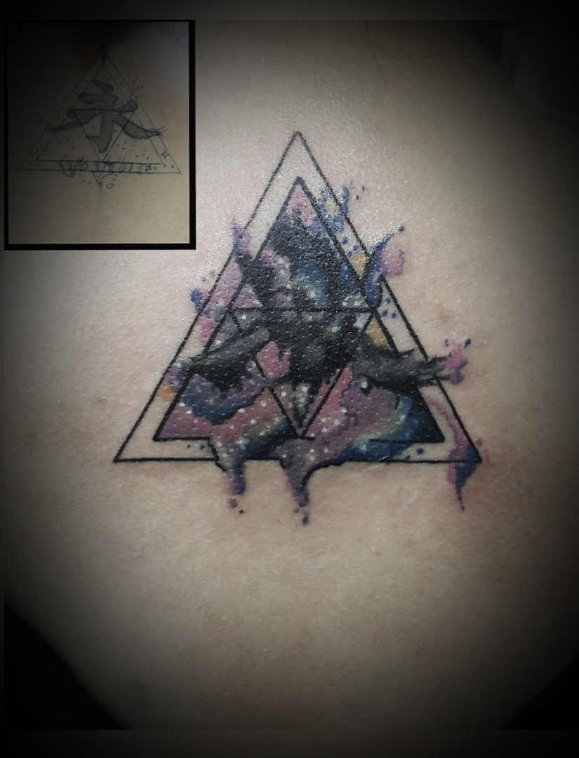 Geometrical Cover up tatoo, Tattoo Artist in Nepal