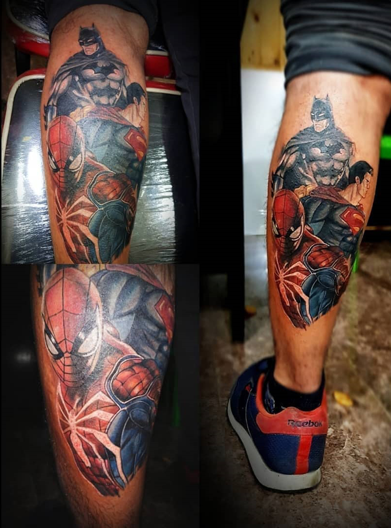Super heroes tattoo in nepal, batman, superman, spiderman in nepal