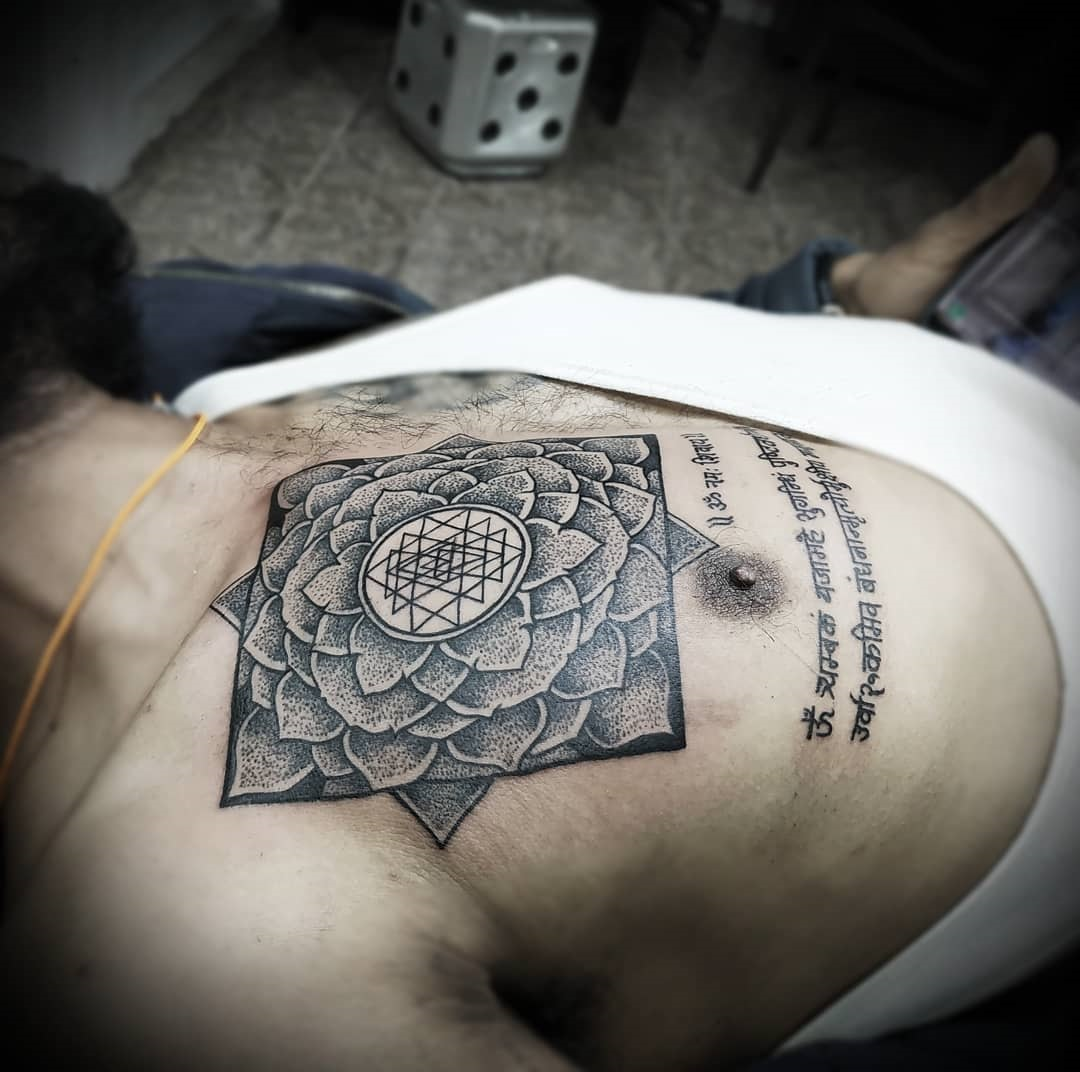 Chest mandala tattoo in nepal