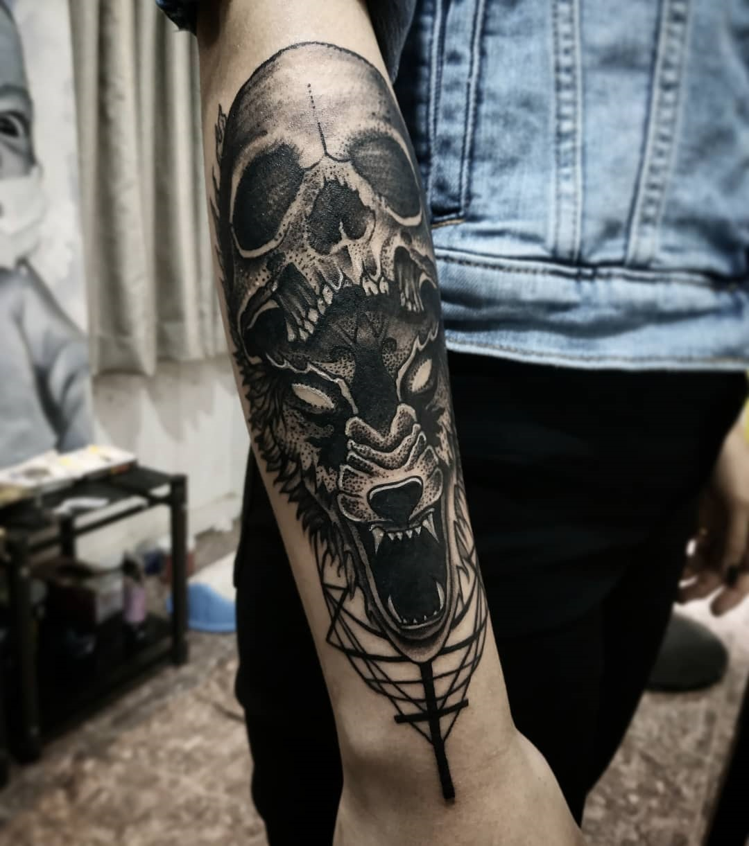 skull and wolf tattoo in nepal by sumina shrestha - best female tattoo artist in kathmandu